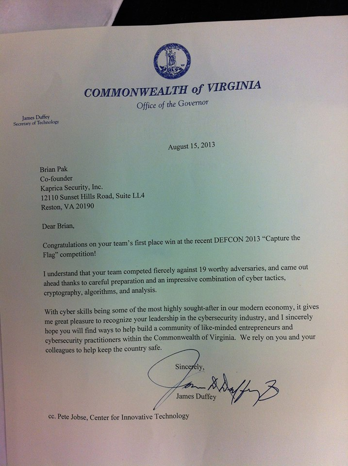 A letter from Secretary of Technology of Virginia