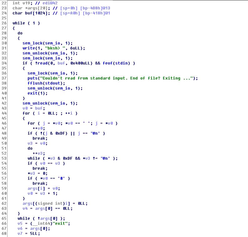 bksh (uspace) command line parser